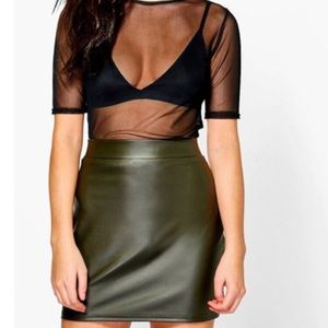 Khaki green mini skirt (NWOT)